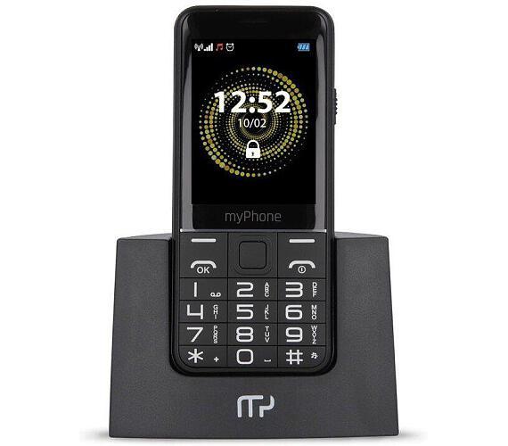 myPhone Halo Q Senior černý s nabíjecím stojánkem