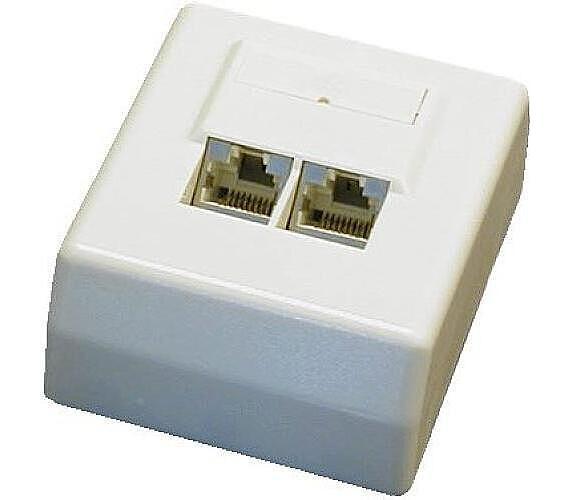 DATACOM Datová zásuvka STP CAT5E 2xRJ45 na omítku 45st. bílá (2100)