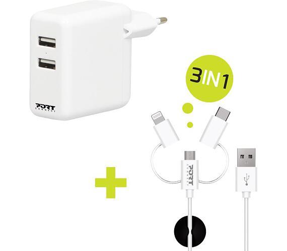 PORT CONNECT nabíječka 2x USB + 3v1 kabel + DOPRAVA ZDARMA