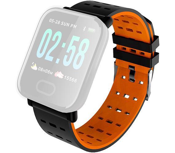 IMMAX řemínek pro chytré hodinky SW11/ černo-oranžový (05042)