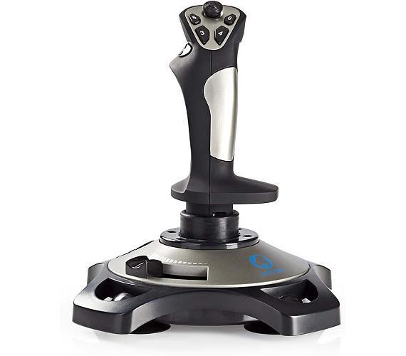 NEDIS joystick/ USB/ 12 tlačítek/ kompatibilní se zařízeními USB/ černý/ kabel 1,5m (GJSK200BK)