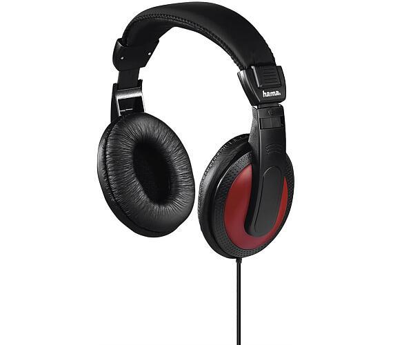 HAMA sluchátka Basic4Music/ drátová/ uzavřená/ 3,5 mm/6,35 jack/ citlivost 113 dB/mW/ černo-červená (184012)