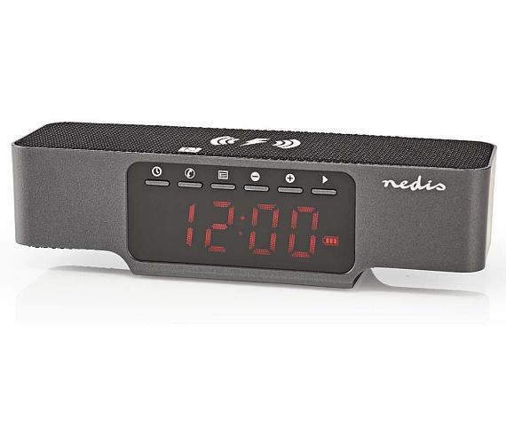 NEDIS digitální budík s rádiem/ bezdrátové nabíjení telefonu/ FM/ Bluetooth/ černý (CLAR007BK)
