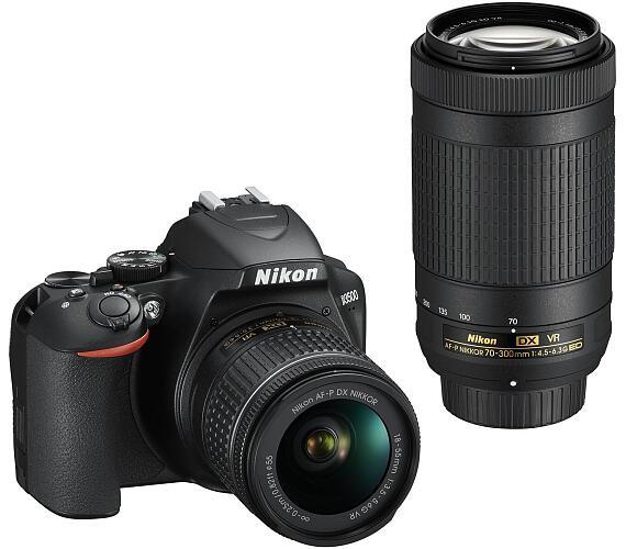 NIKON D3500 Black + 18-55 VR AF-P + 70-300 VR + ČIŠTĚNÍ ČIPU ZDARMA!