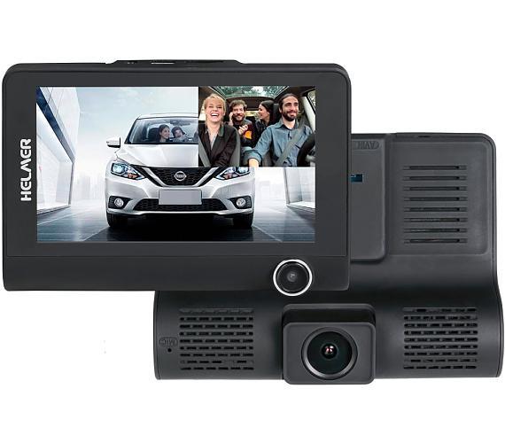 "HELMER kamera do auta Carcam Triple HD/ 4"" TFT displej/ přední kamera 1080p/ tři objektivy/ miniUSB/ micro SD/ CZ/ černá (Helmer Triple"