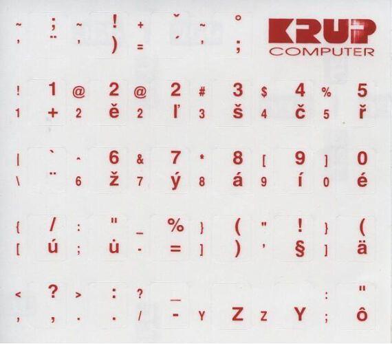 PremiumCord Česká přelepka na klávesnici - červená (pkczr)