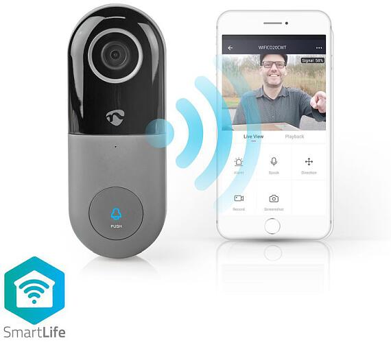 NEDIS WIFICDP10GY - Wi-Fi Smart Domovní Zvonek s Kamerou Ovládání Pomocí Aplikace microSD Slot HD 720p