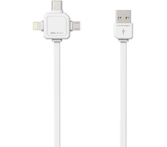 ALLOCACOC USB/Micro USB/USB C-TYPE/Lightning bílý