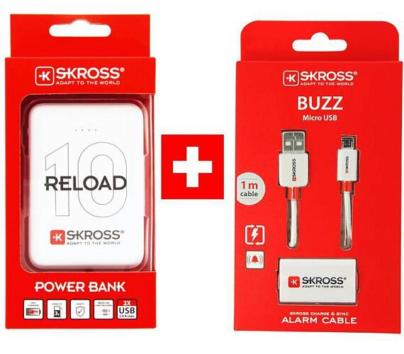 SKROSS PROMO powerbanka Reload 10 + Alarm USB kabel