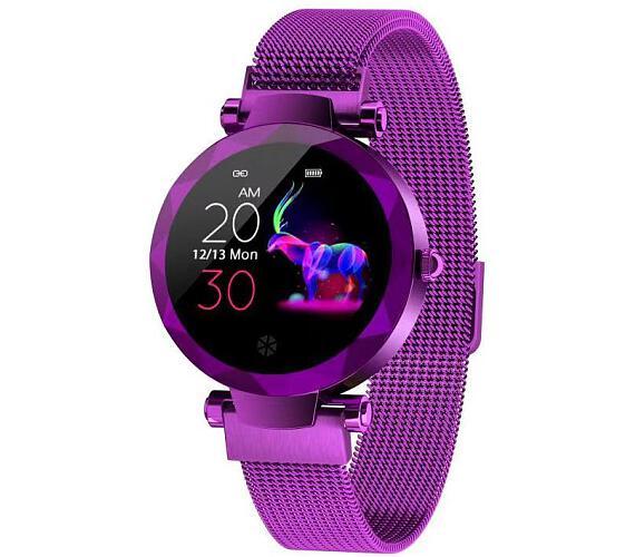 """IMMAX chytré hodinky SW12/ 1.04"""" IPS LCD/ NRF52832/ BT/ IP67/ Android 4.4 / iOS 8.0 a vyšší/ dámské/ čeština/ purpurové (09019)"""