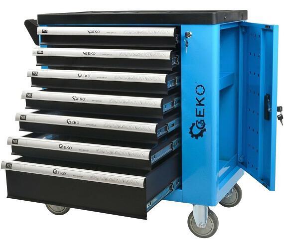 Dílenská skříňka/vozík s výbavou 243ks 7 zásuvek GEKO + DOPRAVA ZDARMA