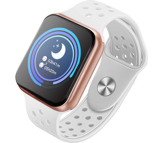 """IMMAX chytré hodinky SW13/ 1.3"""" dotykový TFT LCD/ BT/ IP67/ komp. s Android 2.3 / iOS 4.0 a vyšší/ CZ app/ bílo-zlaté (09021)"""