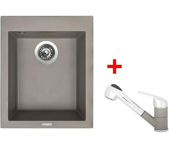 Sinks CUBE 410 Truffle+CAPRI 4S GR + DOPRAVA ZDARMA