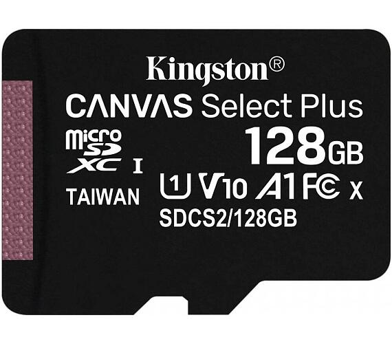 Kingston 128GB microSDHC CANVAS Plus Memory Card 100MB/85MBs- UHS-I class 10 Gen 3 - bez adaptéru (SDCS2/128GBSP)