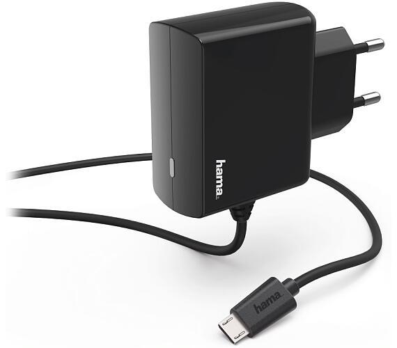 HAMA síťová nabíječka s kabelem/ micro USB/ 100V-240V/ 2,4A/ 1m/ černá (183247)