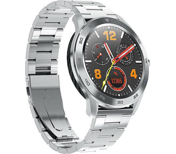 """IMMAX chytré hodinky SW14/ 1.3"""" IPS LCD/ MTK2502C/ BT/ IP68/ Android 4.4 / iOS 8.0 a vyšší/ česká app/ ocel/ stříbrné (09025) + DOPRAVA ZDARMA"""