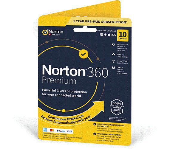 NORTON 360 PREMIUM 75GB +VPN 1 uživatel pro 10 zařízení na 1rok (21405799) + DOPRAVA ZDARMA