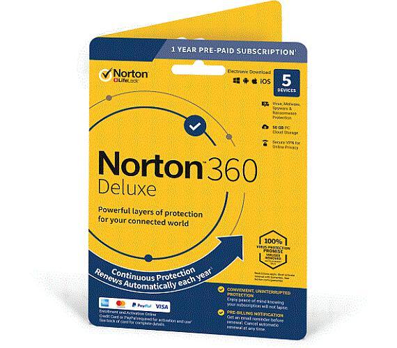 NORTON 360 DELUXE 50GB +VPN 1 uživatel pro 5 zařízení na 1rok (21405797) + DOPRAVA ZDARMA