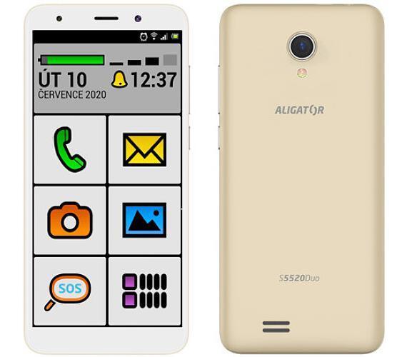 Mobilní telefon Aligator S5520 Duo 16GB Senior zlatý