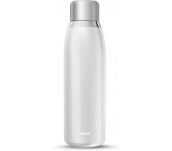 UMAX chytrá láhev Smart Bottle U5 White/ upozornění na pitný režim/ objem 500ml/ provoz 30 dní/ USB/ ocel (UB703)
