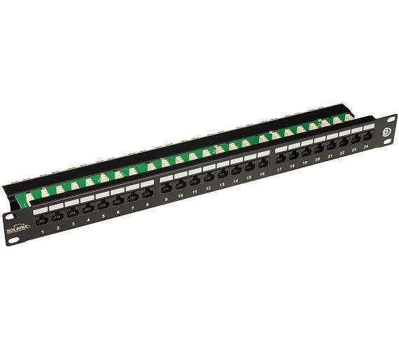 Solarix Patch Panel 24p x RJ45 CAT6 UTP s vyvaz. lištou černý 1U (24000341)