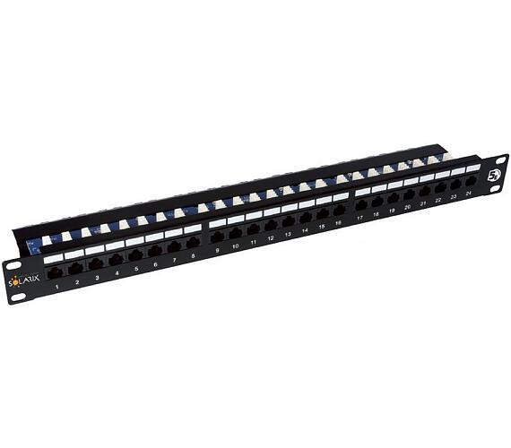 Solarix patch panel 24 x RJ45 CAT5E UTP s vyvaz. lištou černý 1U (24000141)