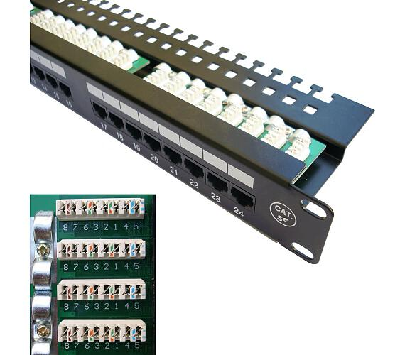 "DATACOM Patch panel 19"" UTP 24 port CAT5E LSA 1U BK (3x8p)hor.záře (3033)"