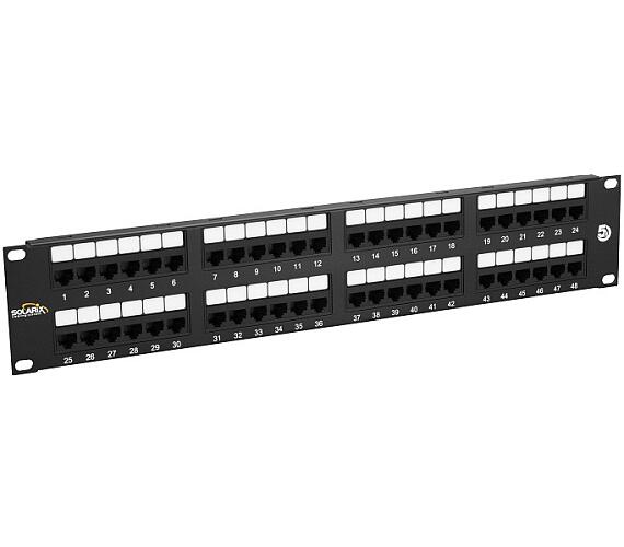 "SOLARIX 19"" Patch panel 48 x RJ45 CAT5E UTP 150 MHz černý 2U + DOPRAVA ZDARMA"
