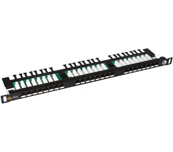 """Solarix 19"""" Patch panel 24xRJ45 CAT5E UTP s vyvaz.lištou černý 0,5U"""