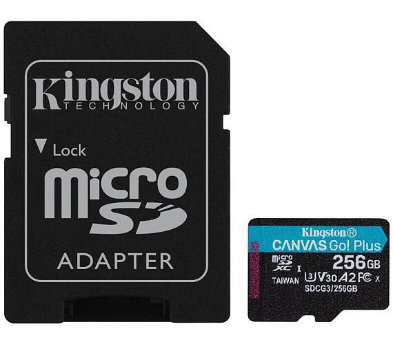 Kingston 256GB microSDXC Canvas Go! Plus 170R/100W U3 UHS-I V30 Card + SD Adapter (SDCG3/256GB)