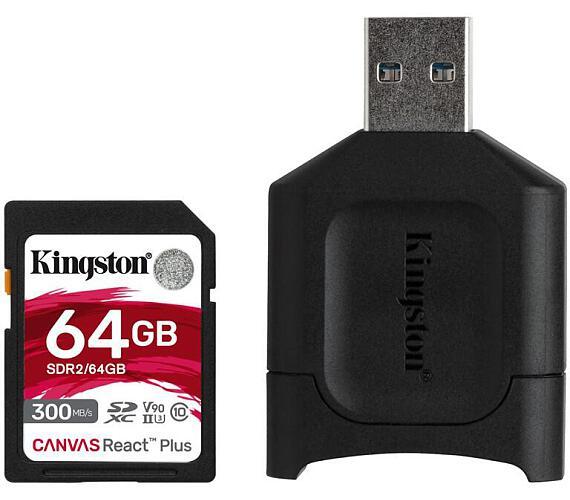 Kingston 64GB SDHC Canvas React Plus SD Kit karta + čtečka (MLPR2/64GB)