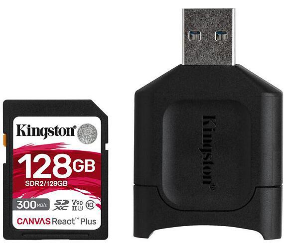 Kingston 128GB SDHC Canvas React Plus SD Kit karta + čtečka (MLPR2/128GB)