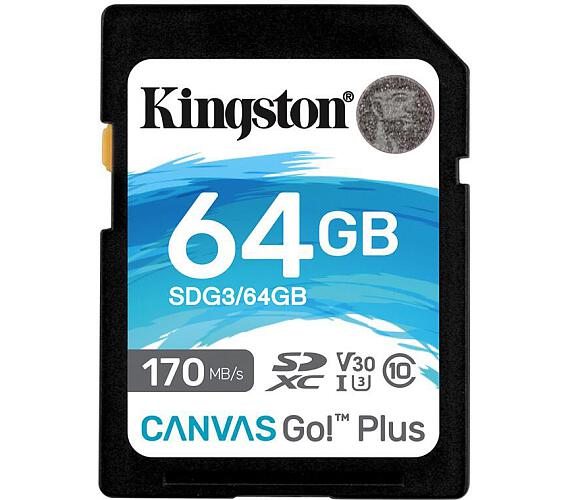 Kingston Canvas Go! Plus 64GB SDXC 170R/90W CL10 U3 V30 (SDG3/64GB)