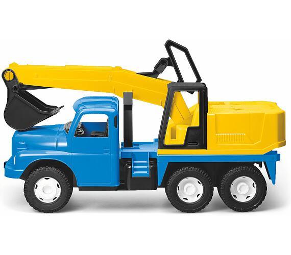 Auto Tatra 148 plast 72cm Bagr UDS na písek v krabici - modrožlutý + DOPRAVA ZDARMA