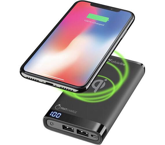 CellularLine FREEPOWER MANTA 8000 powerbanka s funkcí bezdrátového nabíjení černá