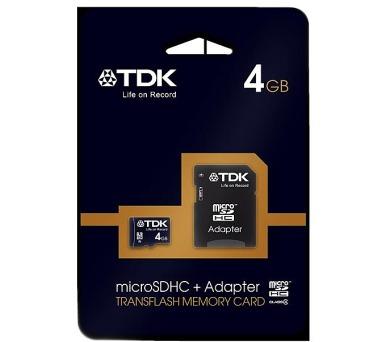 TDK Micro SDHC 4GB Class 4 + adaptér