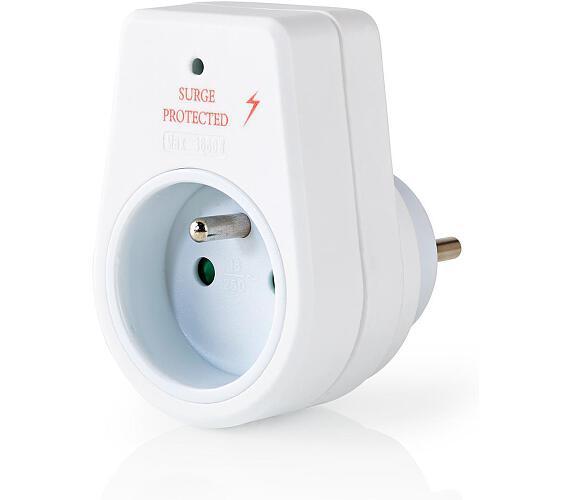 NEDIS přepěťová ochrana/ 230V/ 16A/ dětská pojistka/ 1x FR zásuvka/ bílý (EXSO100SPE1WT)