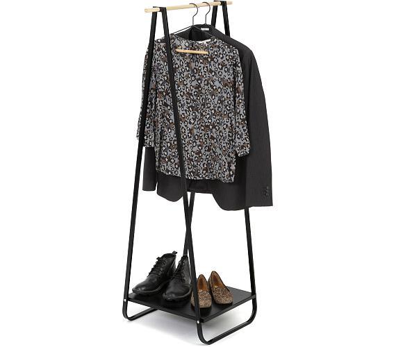 Compactor Nora Black kovový stojan na šaty s kovovou policí na boty + DOPRAVA ZDARMA