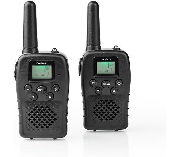 NEDIS vysílačka/ dosah 10 km/ 8 kanálů/ UHF/ VOX/ LED světlo/ dobíjecí baterie/ micro USB/ 2 kusy/ černá (WLTK1000BK)