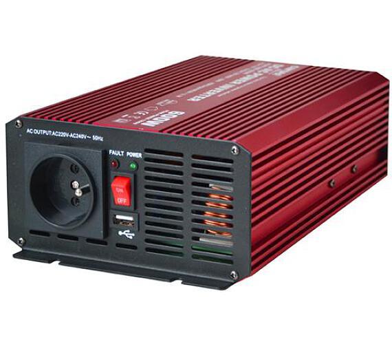CARSPA P600 12V/230V 600W čistá sinusovka USB + DOPRAVA ZDARMA