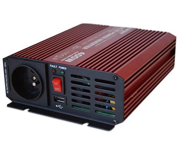 CARSPA P400 12V/230V 400W čistá sinusovka USB + DOPRAVA ZDARMA