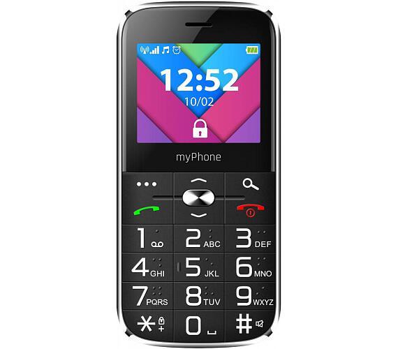 myPhone Halo C Senior černý s nabíjecím stojánkem