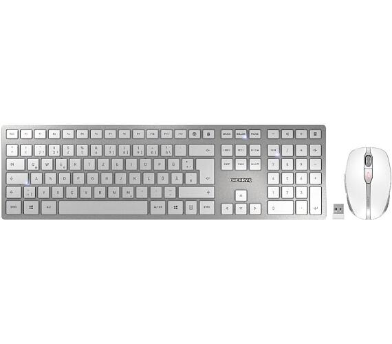 CHERRY set klávesnice a myši DW 9000 slim EU layout stříbrná/bílá (JD-9000EU-1)