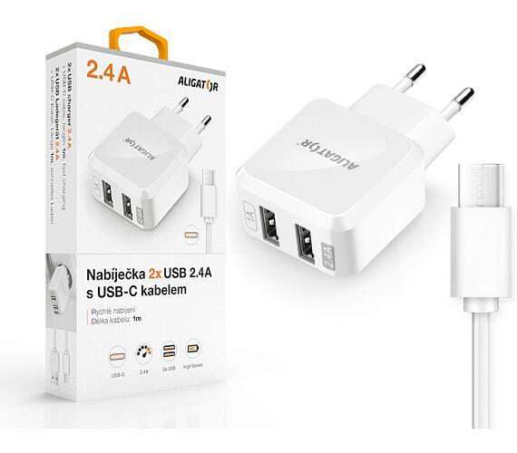 Aligator USB-C s 2xUSB výstupem 2,4A