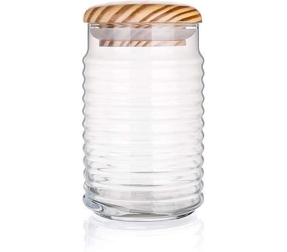 PASABAHCE Dóza skleněná s dřevěným víkem BABYLON 1,1 l