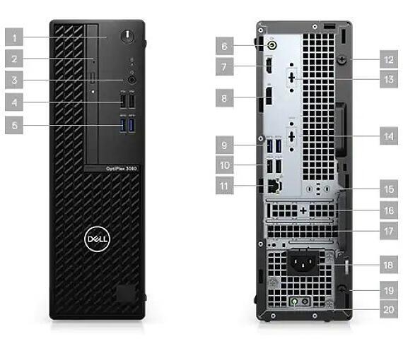 Dell OptiPlex SFF 3080/Core i5-10500/8GB/256GB SSD/Intel UHD 630/DVD-RW/W10P/5Yr NBD Prosupport (8W9CD-5Y)