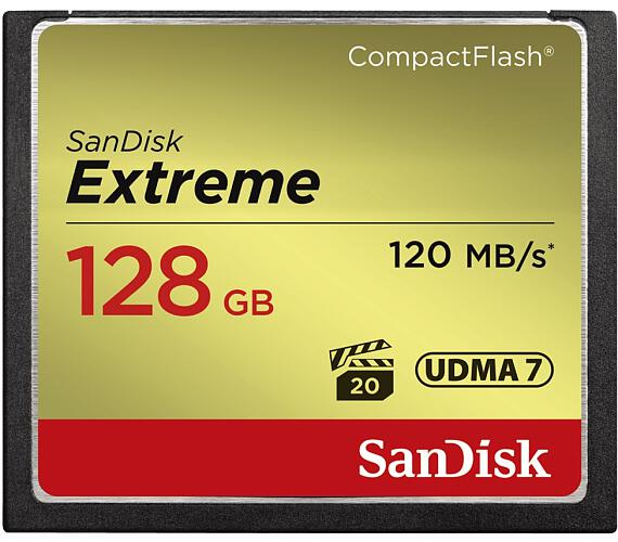 Sandisk Extreme CF 128 GB 120 MB/s zápis 85 MB/s UDMA7 + DOPRAVA ZDARMA