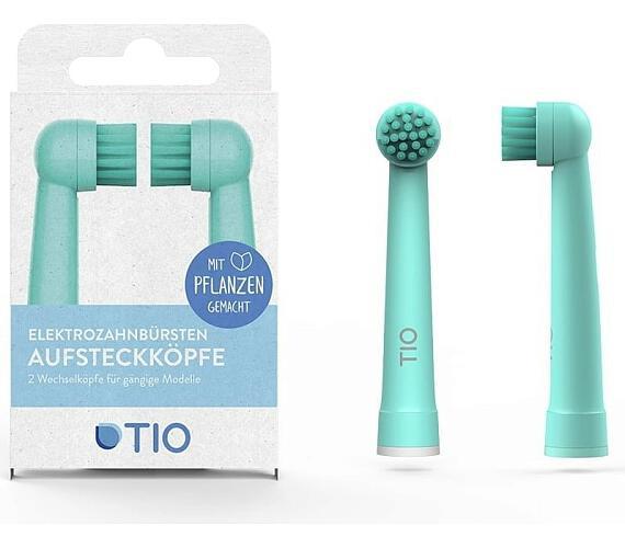 TIO Náhradní hlavice k el. zubnímu kartáčku (2 ks) - tyrkysová/oblázková - kompatibilní s modely kartáčků oral-b