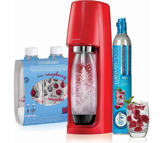SodaStream Spirit Red + 2ks lahev Jet Love Raspberry
