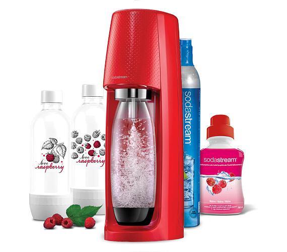 SodaStream Spirit Red + 2ks lahev Jet Love Raspberry + Sirup malina 500ml